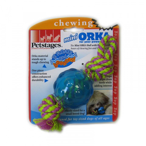 Petstages Mini Orka Ball with Rope Игрушка Мячик